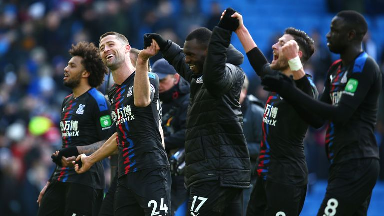 Crystal Palace celebrate their victory over Crystal Palace