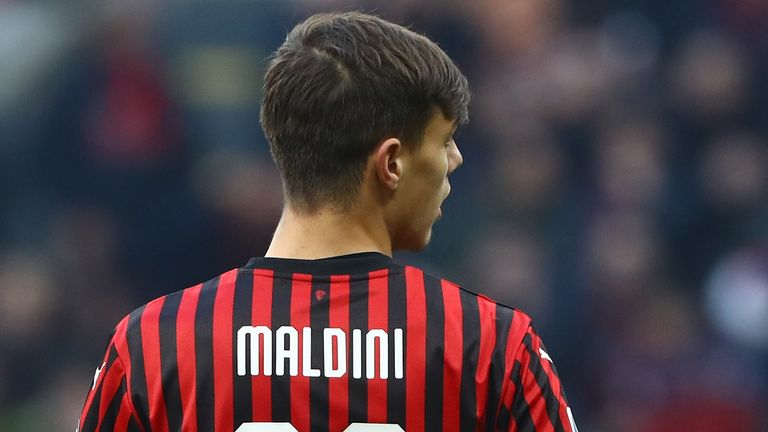 during the Serie A match between AC Milan and Hellas Verona at Stadio Giuseppe Meazza on February 2, 2020 in Milan, Italy..