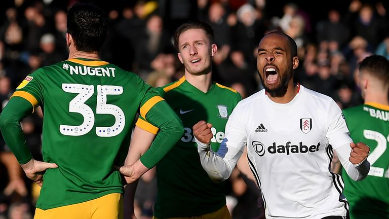 Denis Odoi of Fulham celebrates his sides first goal, an own goal scored by David Nugent