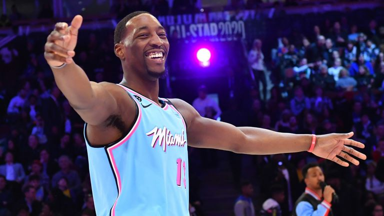 Bam Adebayo celebrates after winning the Skills Challenge at All-Star Saturday Night