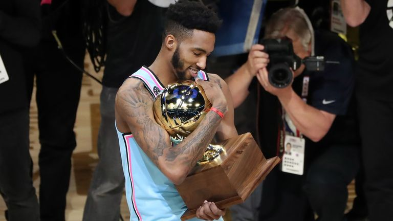 Derrick Jones Jr celebrates after winning the 2020 Slam Dunk Contest