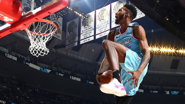 Derrick Jones Jr takes flight during the 2020 Slam Dunk Contest