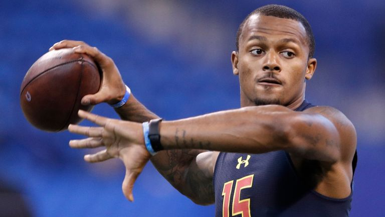 Houston Texans quarterback Deshaun Watson takes aim in a passing drill at the 2017 combine