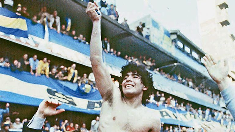 Argentine soccer star Diego Armando Maradona, being carried by fans after winning the 1981 local Championship with Boca Juniors at La Bombonera stadium in Buenos Aires. Boca Juniors,