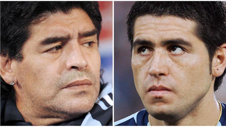 Diego Maradona and Juan Roman Riquelme do not see eye to eye