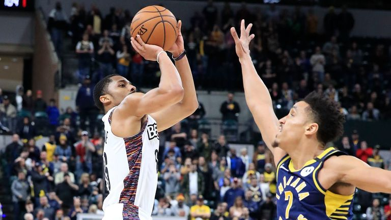 Spencer Dinwiddie #26 of the Brooklyn Nets hits the game winning shot in the 106-105 win against the Indiana Pacers at Bankers Life Fieldhouse