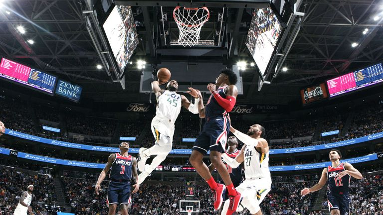 Donovan Mitchell of the Utah Jazz dunks the ball against the Washington Wizards