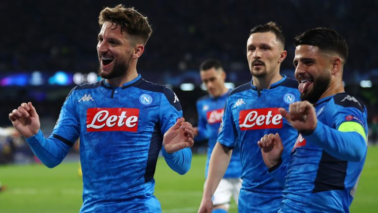 Dries Mertens celebrates scoring for Napoli against Barcelona