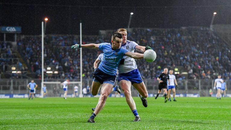 Dara Mullin of Dublin in action against Kieran Duffy of Monaghan