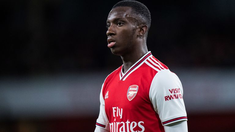 Eddie Nketiah was dismissed in the draw with Leicester City