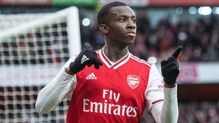 Eddie Nketiah celebrates scoring Arsenal's equaliser in the 3-2 over Everton