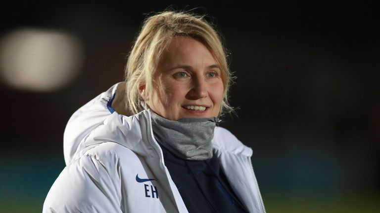 Chelsea Manager Emma Hayes during the Women's Super League match against Birmingham City at The Cherry Red Records Stadium
