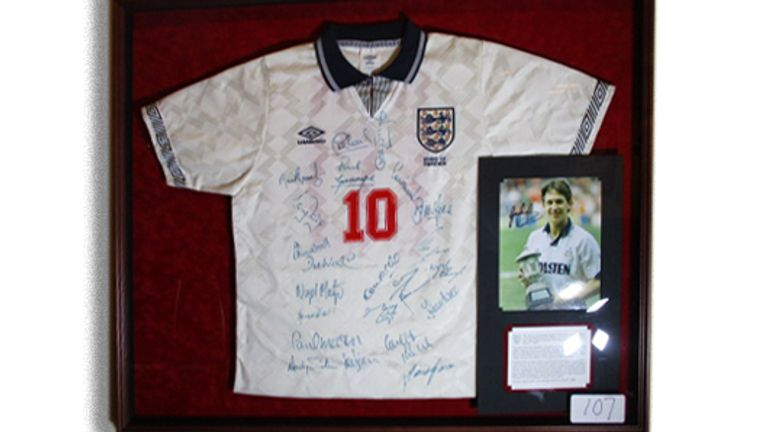 Gary Lineker's shirt from his last England game at Euro 1992