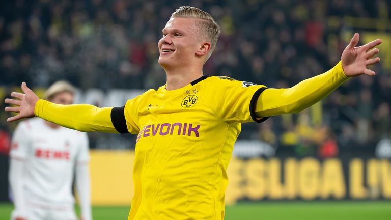 Erling Haaland celebrates after scoring against Cologne