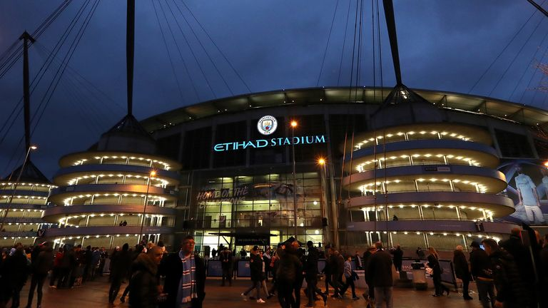 General view outside the stadium prior to the FA Cup Third Round match between Manchester City and Port Vale at Etihad Stadium on January 04, 2020 in Manchester, England.