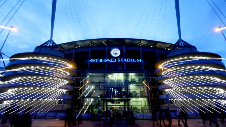 A general view outside of the stadium ahead of the Premier League match between Manchester City and Leicester City at Etihad Stadium on December 21, 2019 in Manchester, United Kingdom.