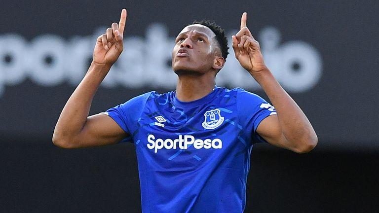 Yerry Mina celebrates pulling Everton level at Vicarage Road on Saturday
