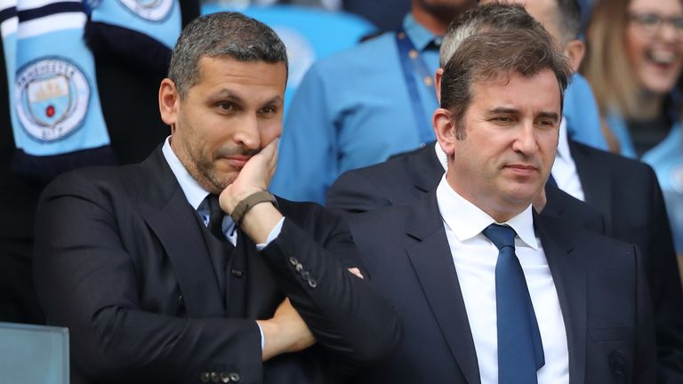 "City chief executive Ferran Soriano (right) said he was ""disappointed but not surprised"" at UEFA's initial verdict"