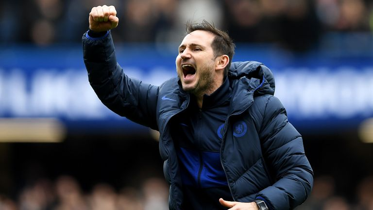 Frank Lampard celebrates Chelsea's 2-1 win over Spurs at Stamford Bridge