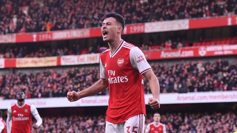 Gabriel Martinelli celebrates scoring Arsenal's goal during the Premier League match between Arsenal FC and Sheffield United at Emirates Stadium on January 18, 2020 in London, United Kingdom.