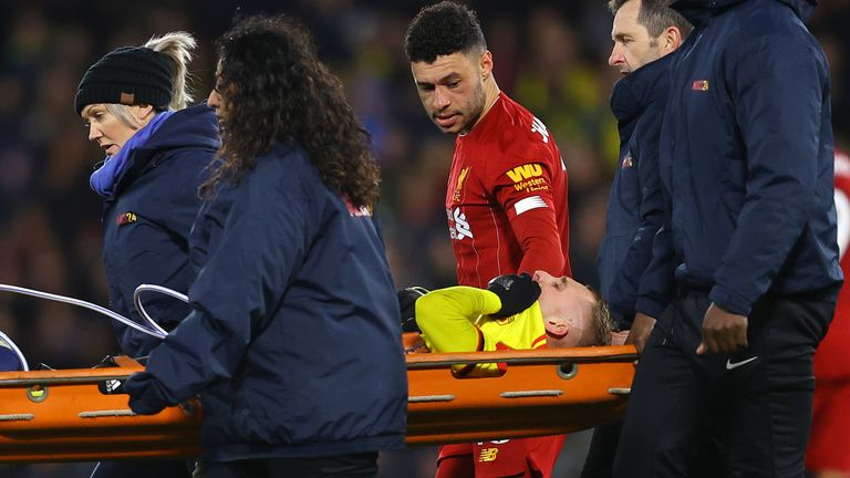 Gerard Deulofeu leaves the pitch on a stretcher after picking up an injury