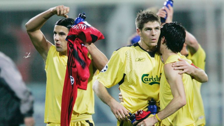 Steven Gerrard's Liverpool side beat Bayer Leverkusen on their way to Champions League glory in 2005