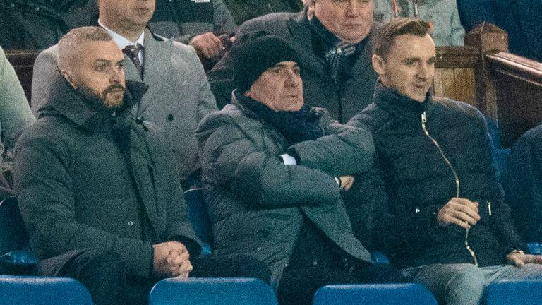FEBRUARY 20: Gheorghe Hagi watches his son Ianis Hagi during a Europa League last 32 first leg match between Rangers and Braga, at Ibrox Park, in Glasgow, Scotland
