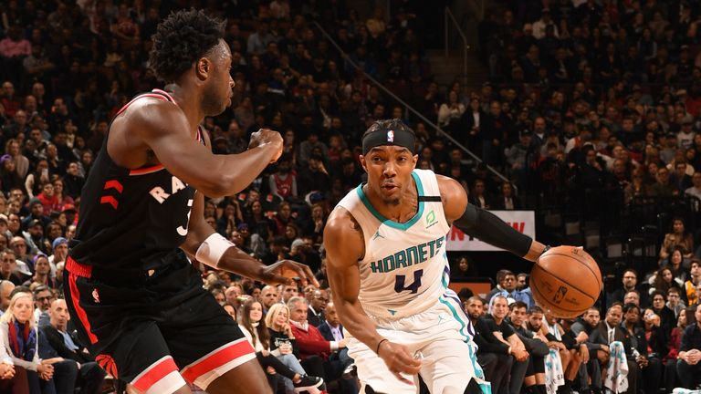 Devonte' Graham of the Charlotte Hornets handles the ball against the Toronto Raptors