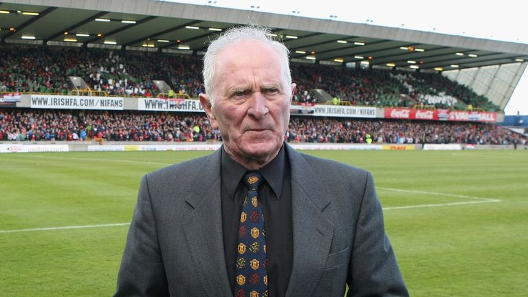 Harry Gregg poses ahead of the Harry Gregg Testimonial match between an Irish League XI and Manchester United on May 15, 2012 in Belfast, Northern Ireland.