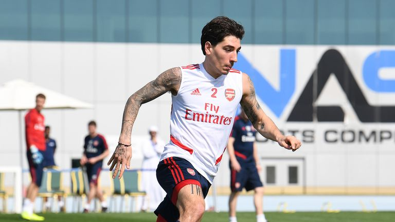 Hector Bellerin of Arsenal during the Arsenal Training Session on February 08, 2020 in Dubai, United Arab Emirates