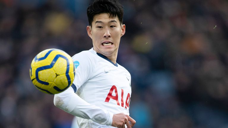 Heung-min Son in action during Spurs' 3-2 win at Villa Park