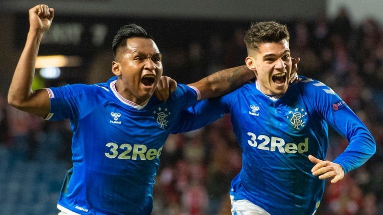 Ianis Hagi (right) celebrates his second goal with Alfredo Morelos that completed a 3-2 win for Rangers