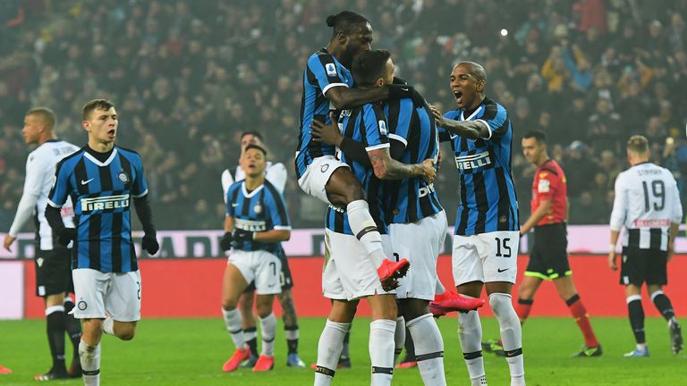 during the Serie A match between Udinese Calcio and  FC Internazionale at Stadio Friuli on February 2, 2020 in Udine, Italy.