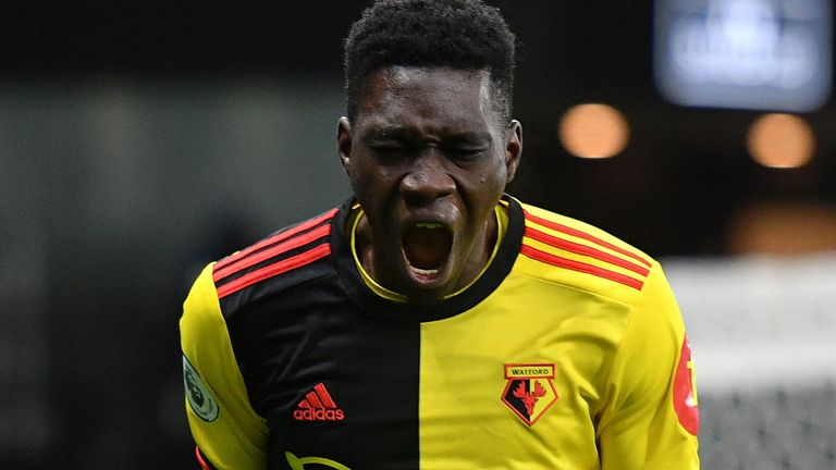 Ismaila Sarr celebrates after he scores Watford's first goal