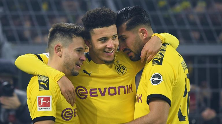 Jadon Sancho celebrates his well-taken goal in Borussia Dortmund's win