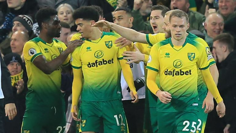 Jamal Lewis celebrates scoring for Norwich against Leicester