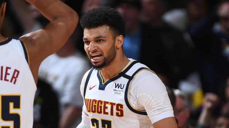 Jamal Murray encourages his team-mates against the Lakers