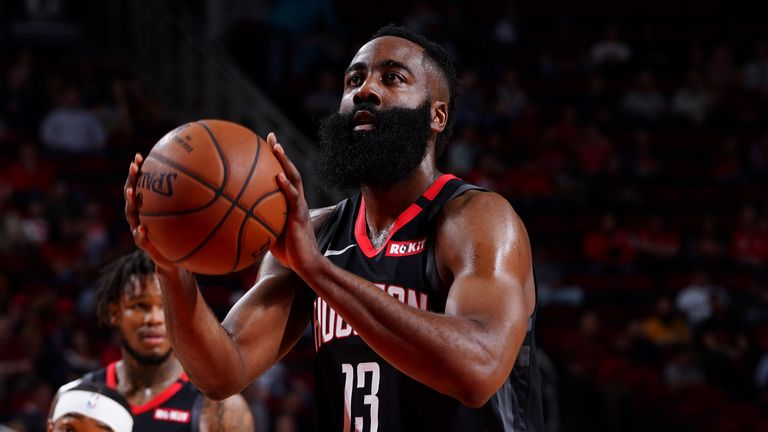 James Harden prepares to shoot a free throw against Charlotte
