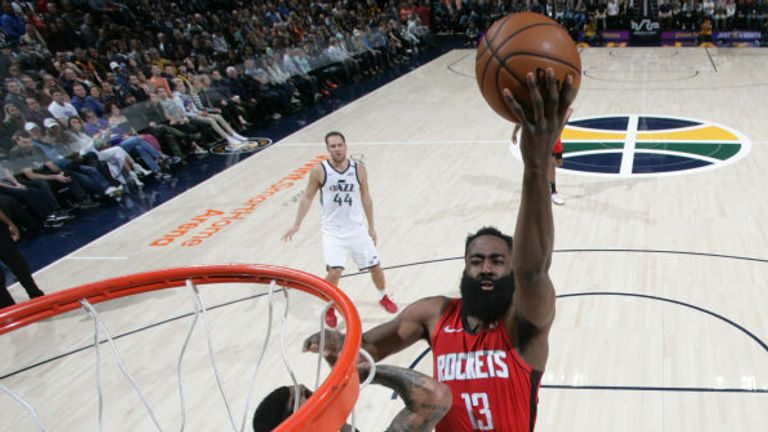 James Harden of the Houston Rockets shoots the ball against the Utah Jazz