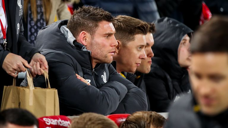 James Milner watched Liverpool's youngsters beat Shrewsbury in the FA Cup
