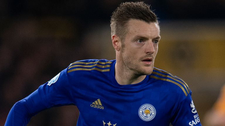 WOLVERHAMPTON, ENGLAND - FEBRUARY 14: Jamie Vardy of Leicester City during the Premier League match between Wolverhampton Wanderers and Leicester City at Molineux on February 14, 2020 in Wolverhampton, United Kingdom. (Photo by VISIONHAUS)