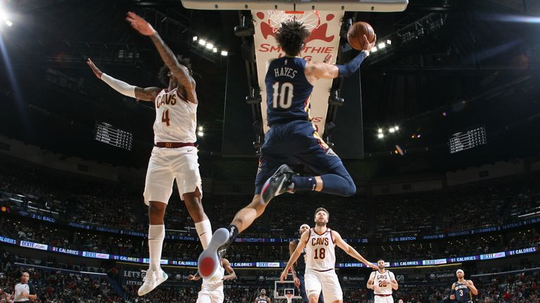 Jaxson Hayes of the New Orleans Pelicans shoots the ball against the Cleveland Cavaliers