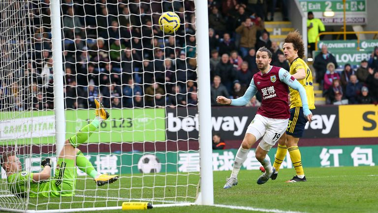 Rodriguez watches his shot from close range crashes off the underside of the crossbar