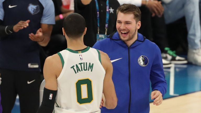 Jayson Tatum of the Boston Celtics with Luka Doncic of the Dallas Mavericks during in the 2019 Skills Challenge