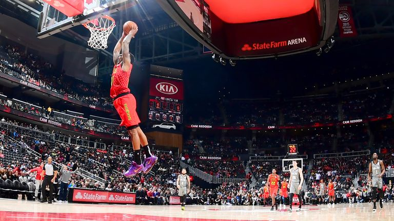 Jeff Teague of the Atlanta Hawks dunks the ball against the Brooklyn Nets