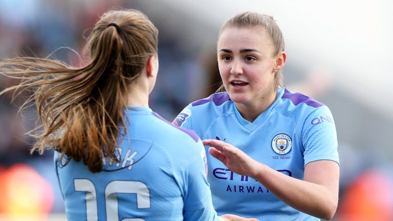 Jess Park celebrates her goal with Georgia Stanway during Man City's convincing win