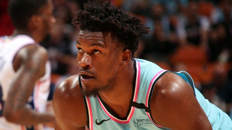 Jimmy Butler in action for the Miami Heat against the Philadelphia 76ers
