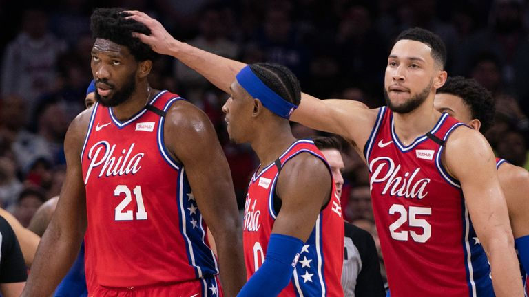 Ben Simmons encourages team-mate Joel Embiid during the 76ers' win over the Clippers