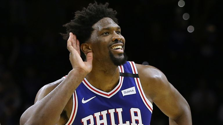 Joel Embiid milks the cheers at Wells Fargo Center