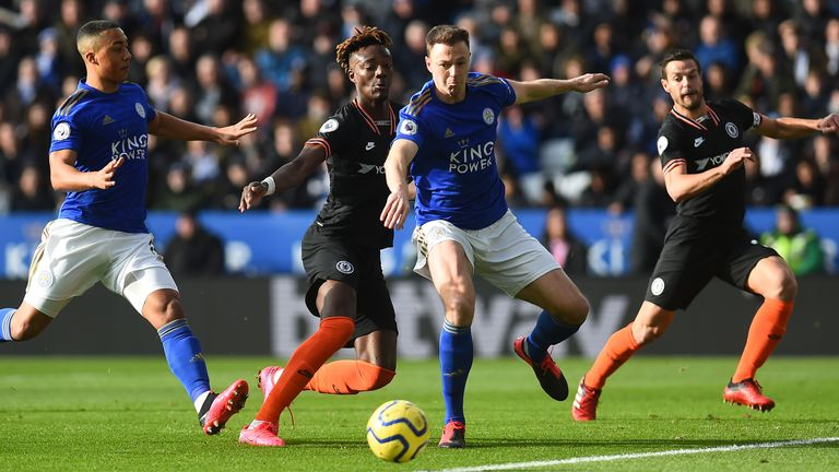 Jonny Evans of Leicester City and Tammy Abraham of Chelsea in action at The King Power Stadium